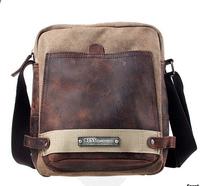promotion fashion casual canvas&cowhide patchwork messenger bags ,male cross body shoulder bags L141AH03