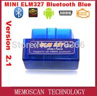New Version V2.1 Super MINI ELM327 Bluetooth Blue OBD2 / OBDII ELM 327 Auto Code Scanner
