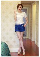 2014 women new Slim hollow lace V-neck fashion Slim thin sweet temperament chiffon shirt