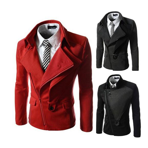 Plus Size XXL 3XL Fashion Winter Man Jacket Men , Men's Zipper Red Wool Coat Men Blazer Slim Fit , Casaco Masculino BHH2030(China (Mainland))