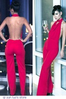 New Fashion Cocktail Clothing Women Red Backless Sexy Long jumpssuit Romper Macacao Feminio Overalls Combinaison 2014 Playsuit