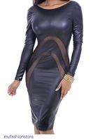 Fashion Women Black Leather Hollow Out Mesh Insert  Long Sleeve Bodycon Midi Sexy Winter Dress vestido de festa 2014