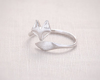 10Pcs/Lot  Cute Fox Ring - Silver Fox Rings Adjustable Rings