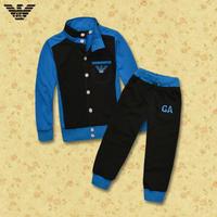 2014  New  Wholesale  Brand  fashion  spring/autumn  children's  suit   patchwork  long  sleeve  turtleneck  boy's  suit