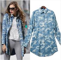Cotton Blouse Women Denim Shirt Long Sleeve Print Tops Ladies Blusa Camisa 169