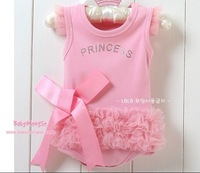 2014 Free Shipping Children kid Baby Girl Pink bow flower Body suit Princess  Dress rompers Christmas gift