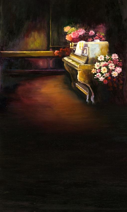 8x12FT personalizar estúdio de fotografia Backdrop interior guarda-roupa de madeira Piano de casamento flores impressão pintura a óleo sobre Vinyl10x10(China (Mainland))