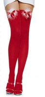 Free shipping 1pair New 100%High quality women's RED villi bowknot bell Christmas Stockings red Stocking Sexy Lingerie