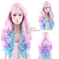 """Mixed Light Pink Purple Blue Curly Wavy 14""""-28"""" Lace Front Wig Heat Resistant Synthetic Wig #Color & Style# As the Picture Show"""