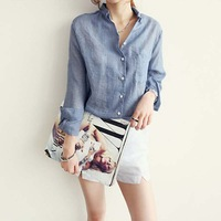 Cotton Liene Shirt Long Sleeve Women Blouse Casual Tops Ladies Blusa Camisa