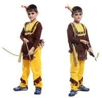 M-XL Brown Yellow Top and Pants + Headband Halloween Carnival Party Indian Brave Prince Hunter Costumes for 4-12Y Kids Boys