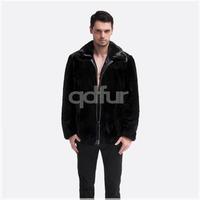 Luxurious Men's Natural Genuine Mink Fur Jacket Coat Zipper Style Male Fur Parka Outwear QD30511