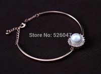 New Fashion Big Pearl Beads Rhinestone Cuff Bracelets Women Wholesale 18K Real Gold Plated Bracelets & Bangles
