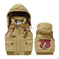New boy Vest Winter Children khaki Vest Thickening Keep Warm Waistcoat Hooded Detachable Cotton Vest For Children Free shipping