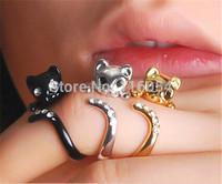 Free shipping Silver 18K Gold  Black Crystal Knuckle Adjustable Cute Moggie Kitten Cat Animal Wrap Mid Finger Ring Men Wholesale