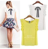 Hot 2014 Spring Summer Basic Undershirts Sexy Girl Back bow tie Chiffon Dresses Women O-neck Lotus Leaf Pullover Blouse Shirts
