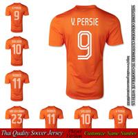National Team Football Cup 2014 VAN PERSIE home orange soccer jersey player version ROBBEN shirt VAN DER VAART free shipping