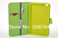 leather wallet cover for samsung galaxy tab3 T3110 free stylus+free screen protector+free shipping