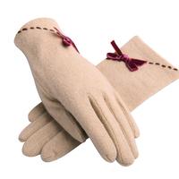 Eland 2014 Winter lady soft elegant show thin bow wool warm Korean gloves