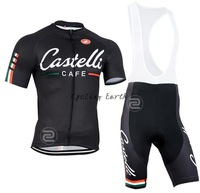 Free shipping! Castelli CAFE 2014 #4 black short sleeve cycling jersey bib shorts set bicycle wear clothes jersey pants,gel pad