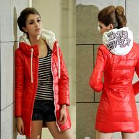 US Size Women Down Jackets Large Fashion momen's hood wadded jackets Female winter jackets Women winter coat outwear