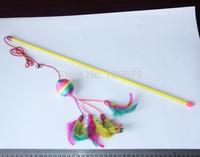 8 pcs Handmade Plush Toys Cat Love to Shoot Funny Cat Stick Color Random Bell Color Ball T1035