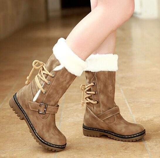 Women autumn winter retro fashion snow boots warm cotton boots long leg winter boots women flat casual motorcycle boots(China (Mainland))