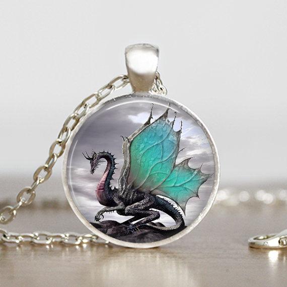 2014 Dragon Necklace Handmade Dragon Jewelry Long Photo Necklace Charm Fantasy Blue Dragon Jewelry