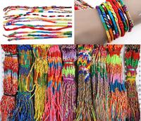 50pcs/lot Mixed Colors Wholesale Jewelry Lots Ethnic Surfer Tribal colorful rope Braid Bracelets