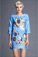 Fashion Vestidos 2015 Summer Runway Dress Women Tops Fertilizer Embroidered Vintage Owl Chiffon Printed Dresses Femininos A174