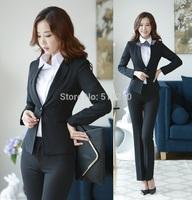New Uniform Design Formal Pant Suits Blazer And Pants For Office Ladies Autumn Winter Professional Work Wear Blazer Set S-4XL
