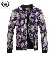 2014 Floral Printed Men Jackets Winter Warm Fur Inside Coat Plus Size Outwear Coats Mens Outdoors Parkas 11.11 On Sale