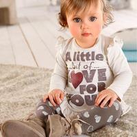 360 Free shipment  girl's autumn love printing clothing sets wholesales 5set/lot