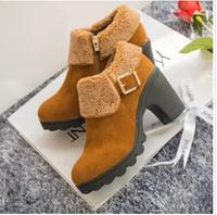 2014 women snow boots comfortable women shoes mid heel round head Side zipper women Martin boots dr6