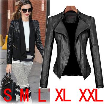 2014 sexy Женщины leather jacket Motorcycle Кожа PU является высокотехнологичным ...