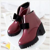 2014 women Martin boots hot style After the zipper high heel shoes bowknot chunky heels women boots dr6
