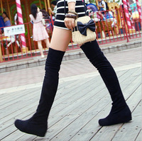 Women boots 2014 winter ladies fashion flat bottom boots shoes over the knee high leg suede long boots brand designer