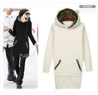 2014 New winter coat Fashion Fleece Pullovers long Plus Size Velvet Thicken Hooded Sweatshirt Dress Hoodies Women
