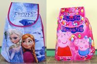 24 pcs/lot Sale 2014 Frozen Anna Elsa Prince peppa pig Non-woven String Backpack gift for Kids Children's School Bag birthday
