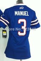 #3 EJ Manuel blue Jersey,Women Football Jersey,Best quality,Authentic Jersey,Size S--XXL,Accept Mix Order