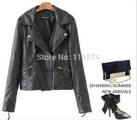 2014 Black Ivory Ladies Leather Jacket Coats Hot Sale Fashion Women Autumn Zipper Jackets Coat MYK056