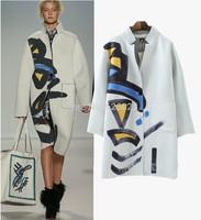 2014 New Celebrity Show Women's Geometric Graffiti Print Stand Collar Wide waist Loose Medium long Trench Coat Outerwear Tops