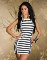 Hot sexy o-neck striped vestidos femininos sexy dress slim summer dress 2014