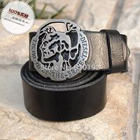 Korean fashion buckle personalized antique round head men's pure leather belt