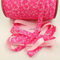 Breast Cancer Elastic Ribbon Pink Ribbon Fold Over Elastic