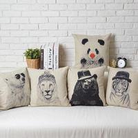 Drawing animals Creative IKEA Cartoon Vintage Linen Cotton Cushion Linen Pillow cover pillowcase home decorate sofa cushions