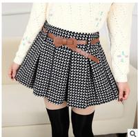 Korean Skirts Winter Autumn Women Fashion High Waist Pleated Skirt Plaid Striped Skirt Black White Female Short Skirts For Women