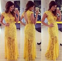 Elegant yellow lace Prom dress Mulheres moda vestido de baile renda amarela elegante vestidos de festa Vestido Longo LQ4862