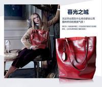New winter cowhide leather bags women leisure OL big shoulder bags oil wax handbags fashion vintage messenger bags