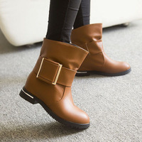 2014 new single boots flat shoes women motorcycle boots Martin boots with thick belt buckle high-top Fashion boots